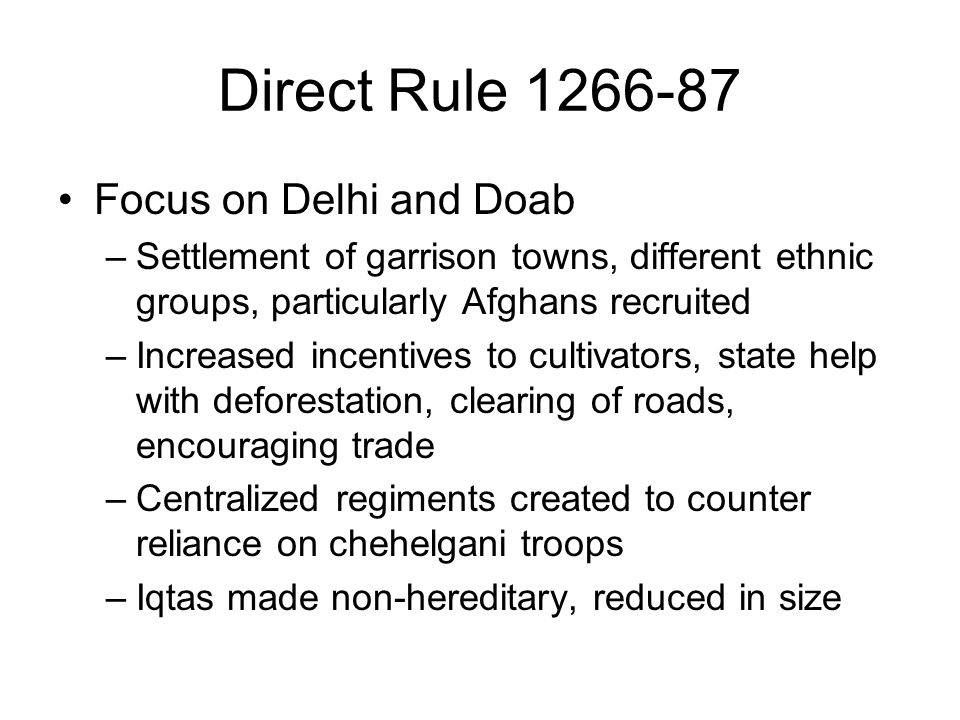 Direct Rule 1266-87 Focus on Delhi and Doab