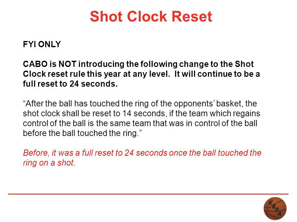 Shot Clock Reset FYI ONLY