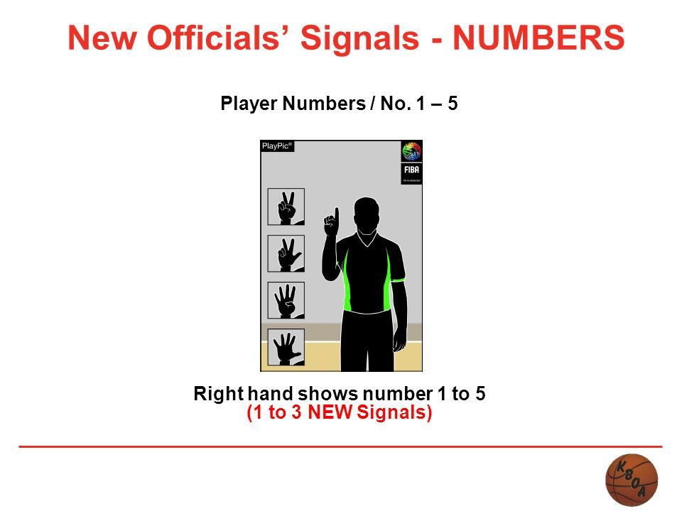New Officials' Signals - NUMBERS