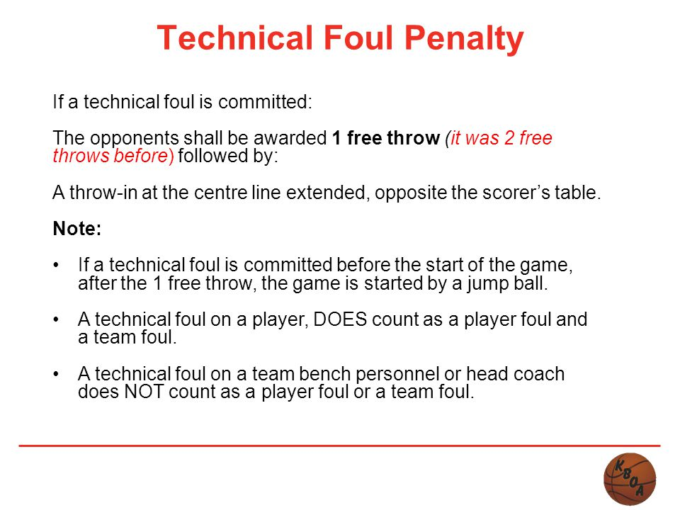 Technical Foul Penalty