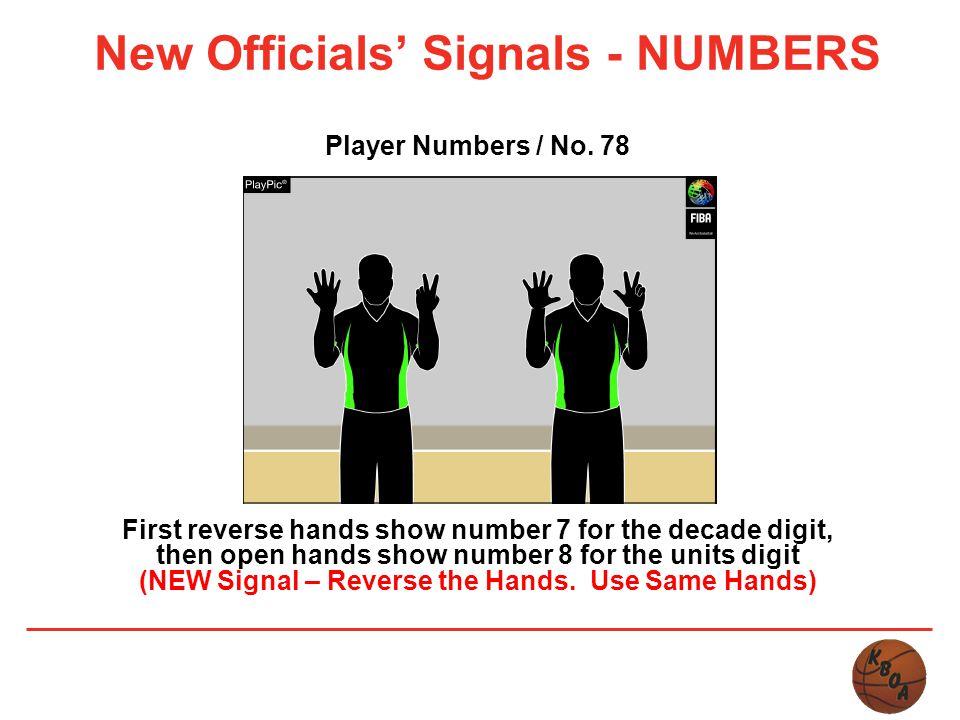 New Officials' Signals - NUMBERS