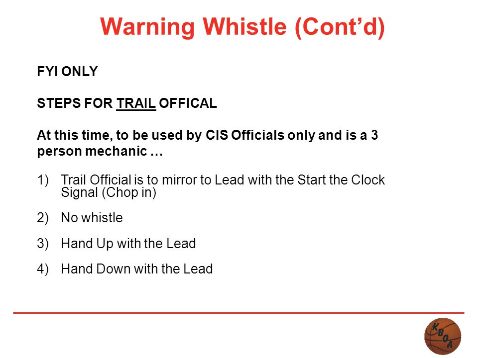 Warning Whistle (Cont'd)