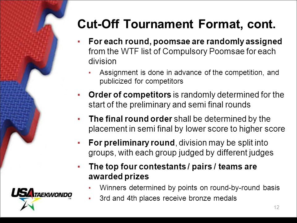 Cut-Off Tournament Format, cont.