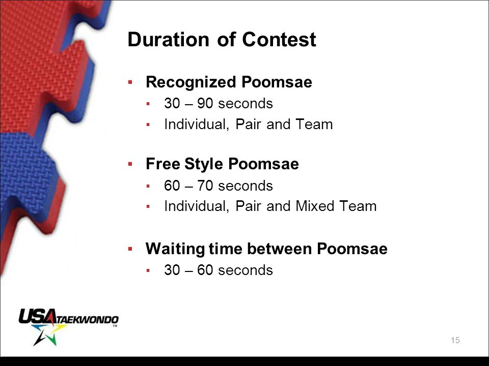 Duration of Contest Recognized Poomsae Free Style Poomsae