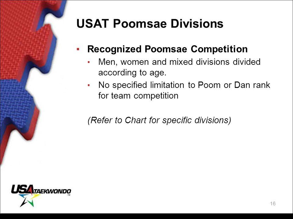 USAT Poomsae Divisions