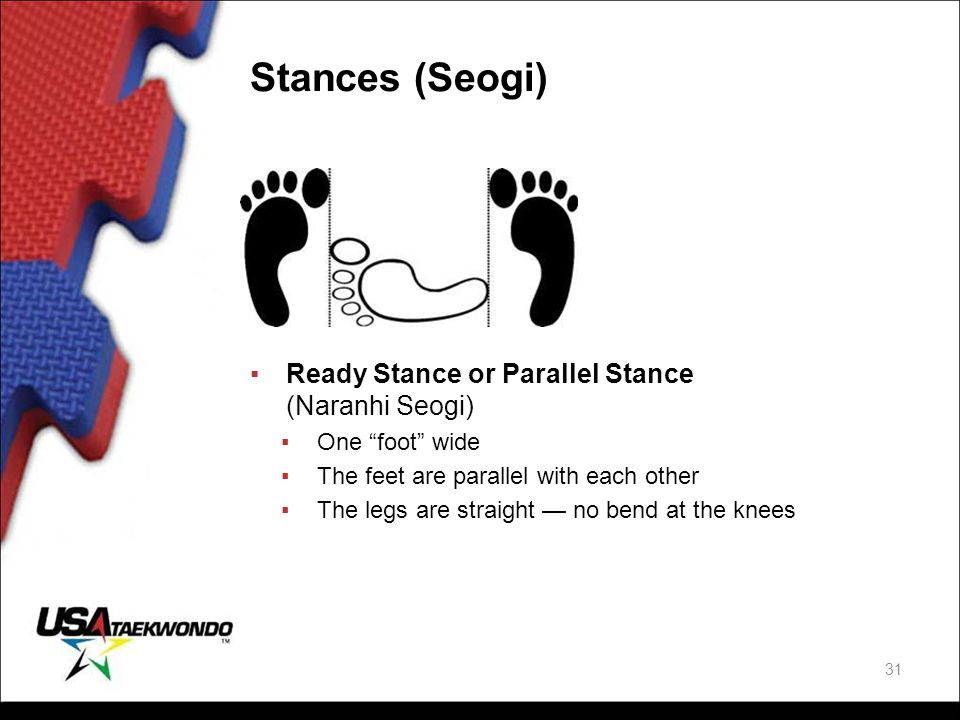 Stances (Seogi) Ready Stance or Parallel Stance (Naranhi Seogi)