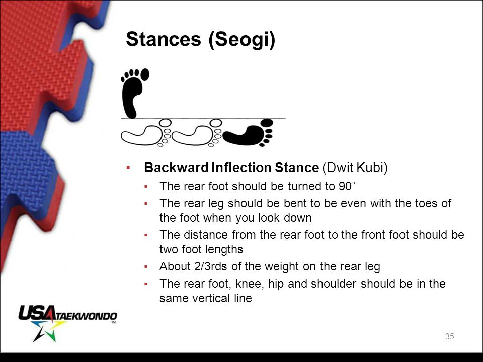 Stances (Seogi) Backward Inflection Stance (Dwit Kubi)