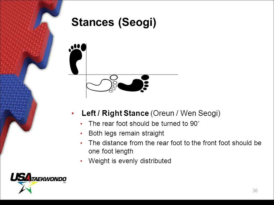 Stances (Seogi) Left / Right Stance (Oreun / Wen Seogi)