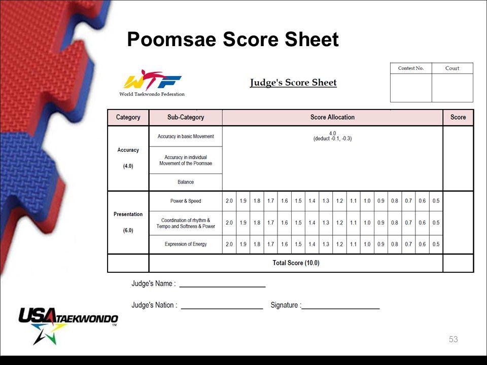 Poomsae Score Sheet