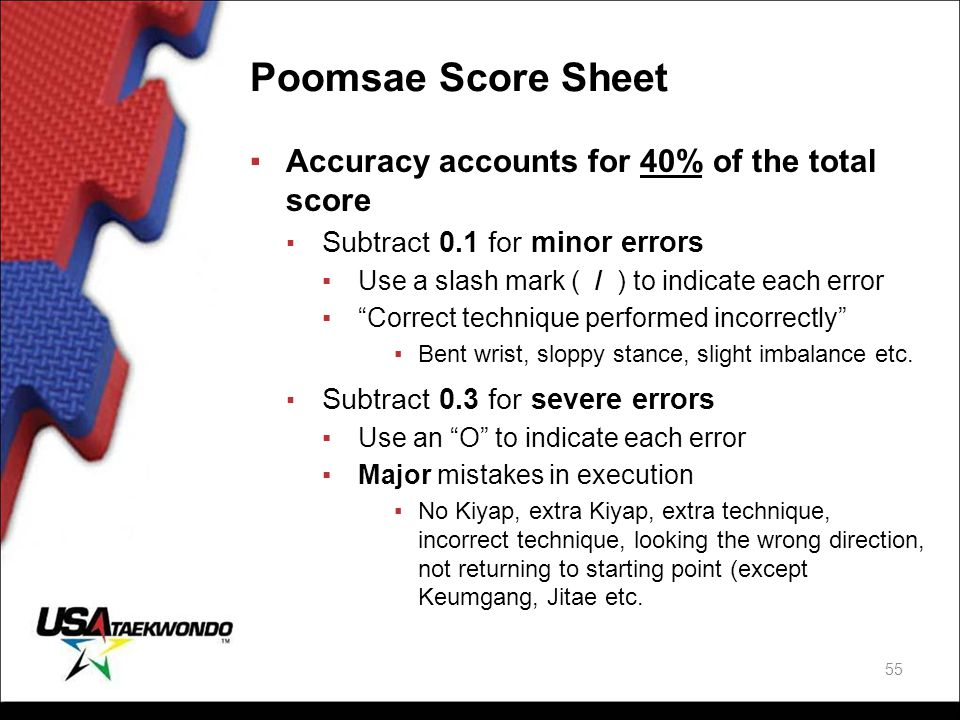 Poomsae Score Sheet Accuracy accounts for 40% of the total score