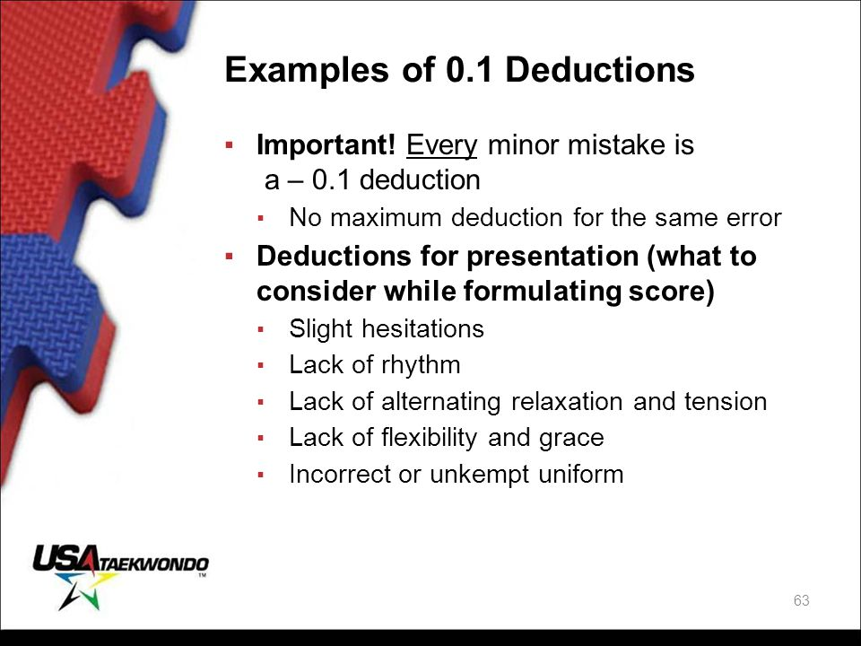 Examples of 0.1 Deductions