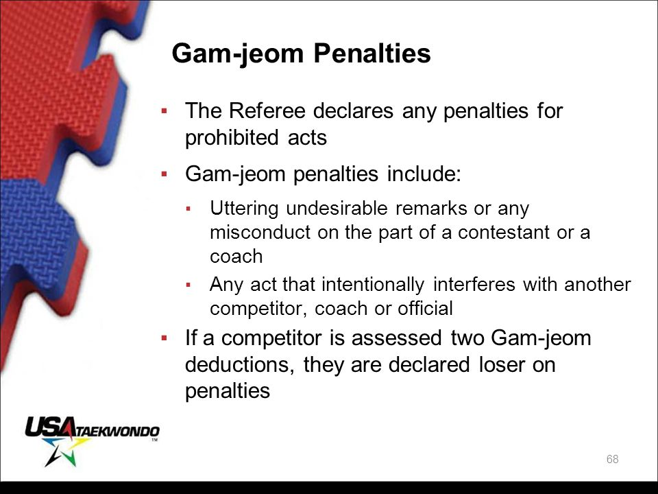 Gam-jeom Penalties The Referee declares any penalties for prohibited acts. Gam-jeom penalties include: