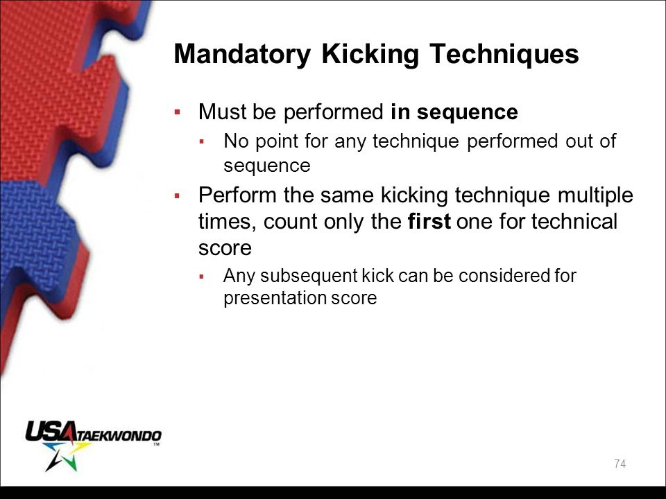 Mandatory Kicking Techniques