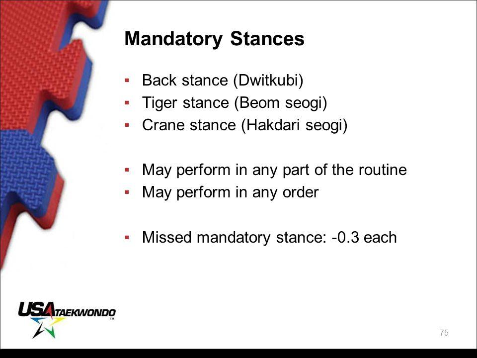 Mandatory Stances Back stance (Dwitkubi) Tiger stance (Beom seogi)