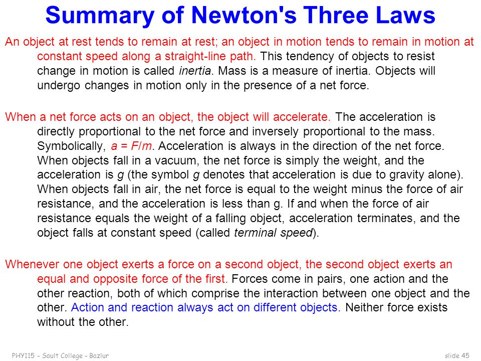 Summary of Newton s Three Laws