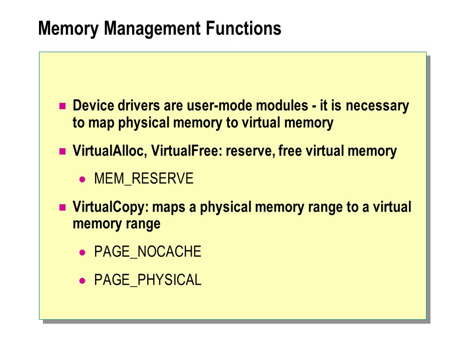 Memory Management Functions