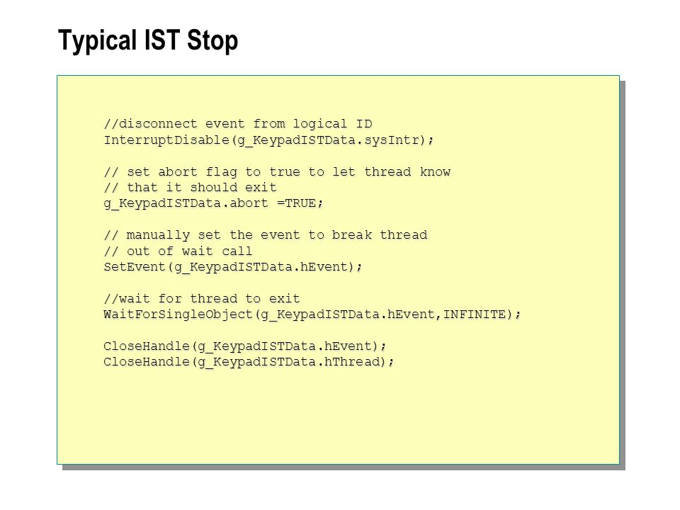 Typical IST Stop //disconnect event from logical ID