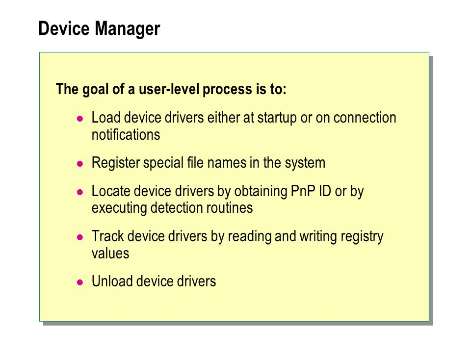 Device Manager The goal of a user-level process is to: