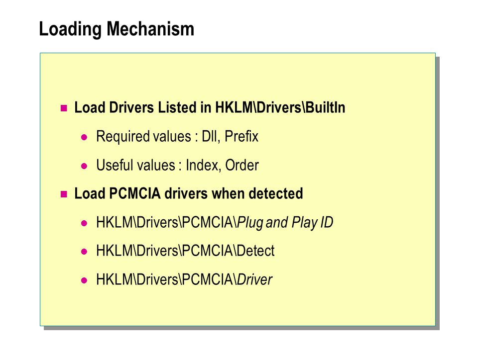 Loading Mechanism Load Drivers Listed in HKLM\Drivers\BuiltIn
