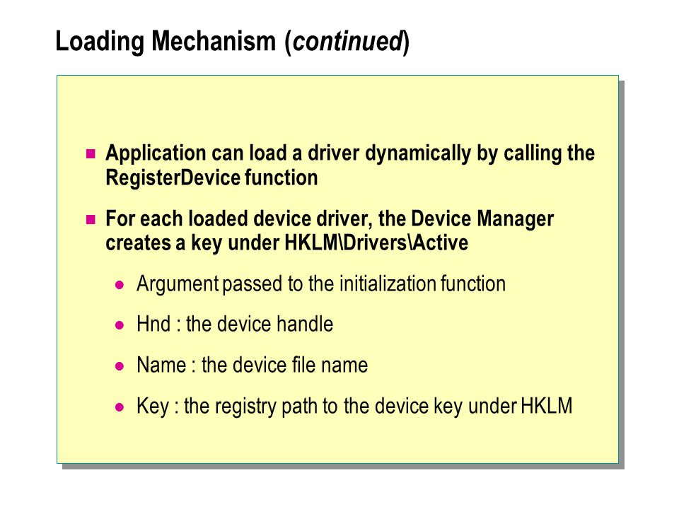 Loading Mechanism (continued)