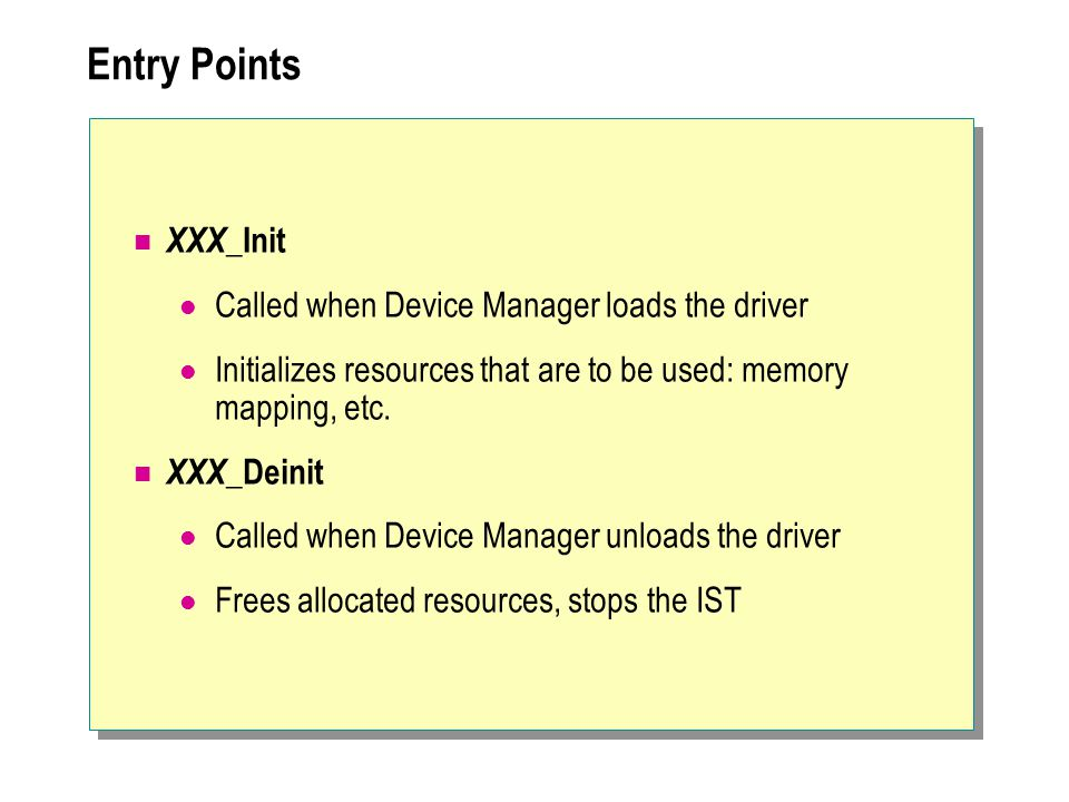 Entry Points XXX_Init Called when Device Manager loads the driver