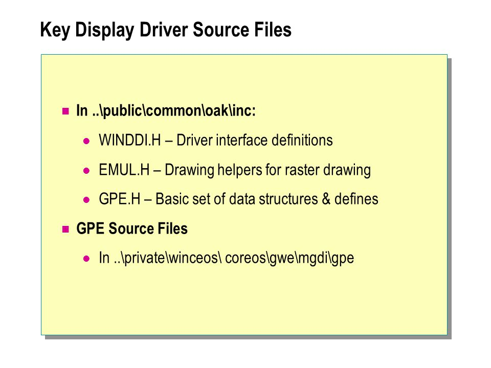 Key Display Driver Source Files