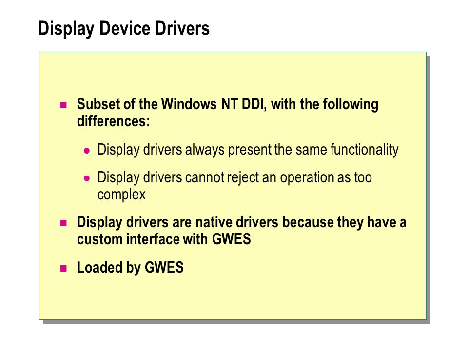 Display Device Drivers