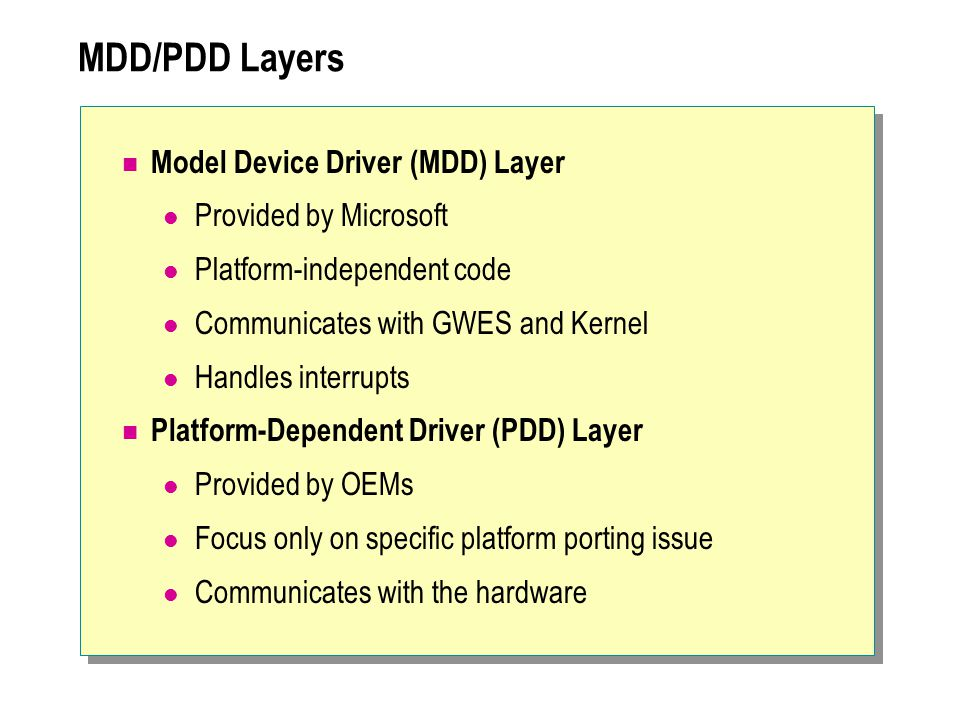 MDD/PDD Layers Model Device Driver (MDD) Layer Provided by Microsoft