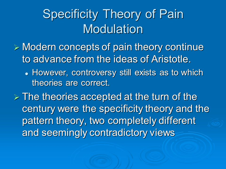 The Gate Control Theory of Chronic Pain