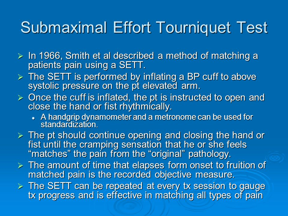 Submaximal Effort Tourniquet Test