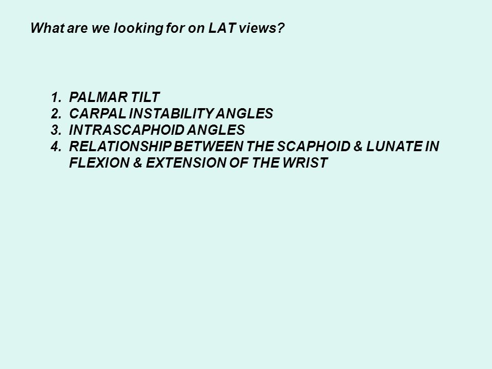 What are we looking for on LAT views