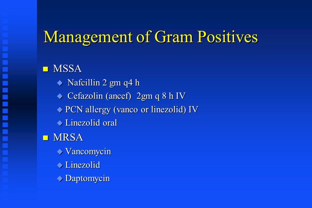 Management of Gram Positives
