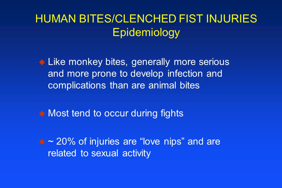 HUMAN BITES/CLENCHED FIST INJURIES Epidemiology