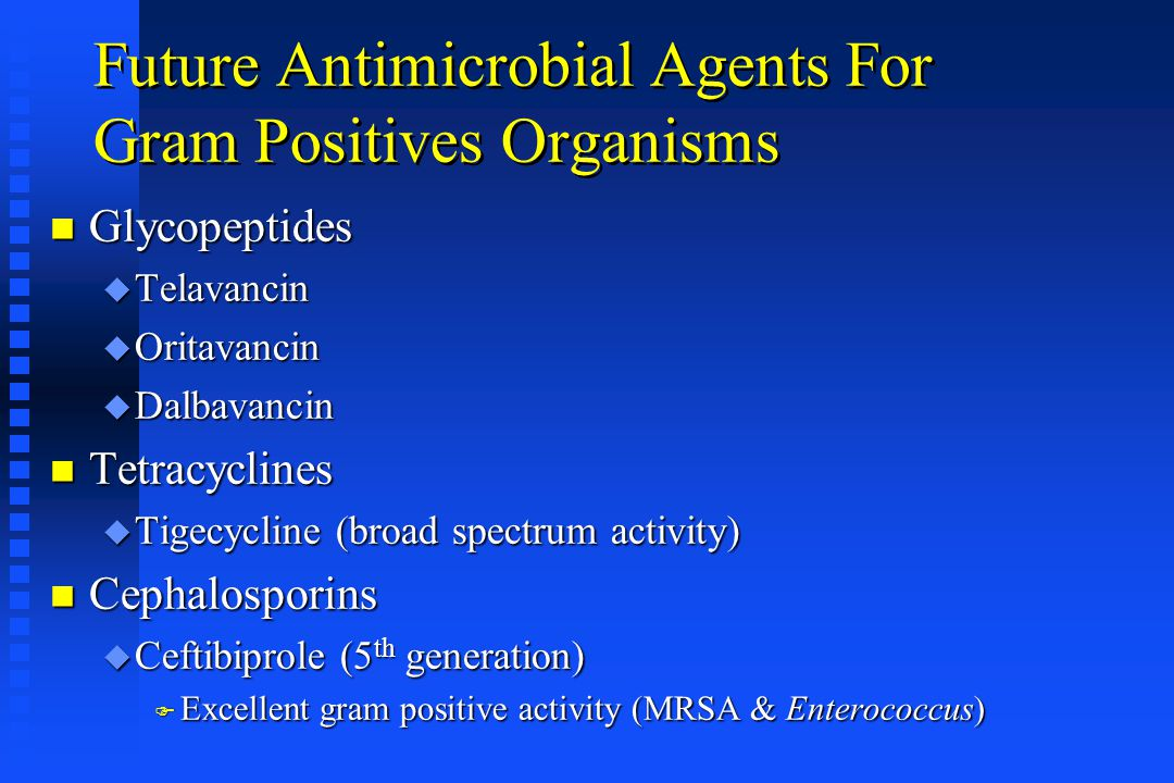Future Antimicrobial Agents For Gram Positives Organisms