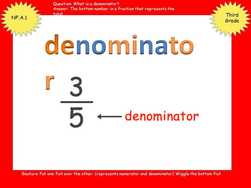 denominator Third Grade NF.A.1 Question: What is a denominator