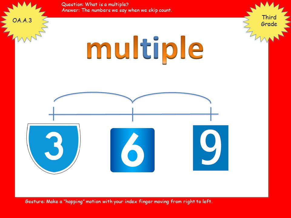 multiple Third Grade OA.A.3 Question: What is a multiple