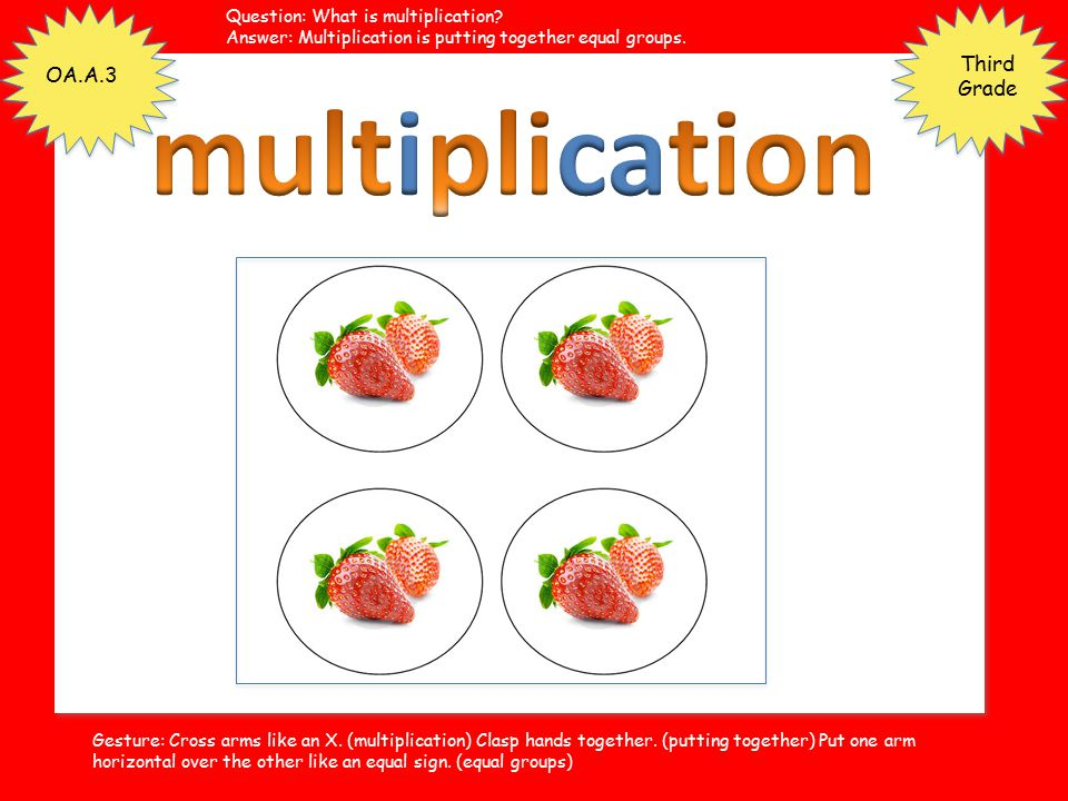 multiplication Third Grade OA.A.3 Question: What is multiplication