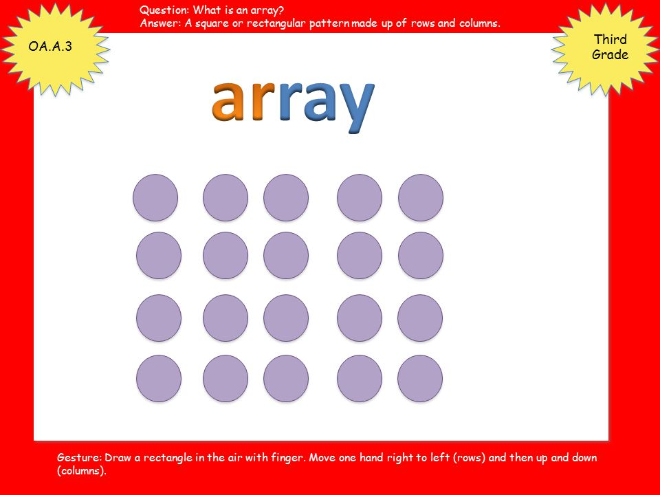 array Third Grade OA.A.3 Question: What is an array