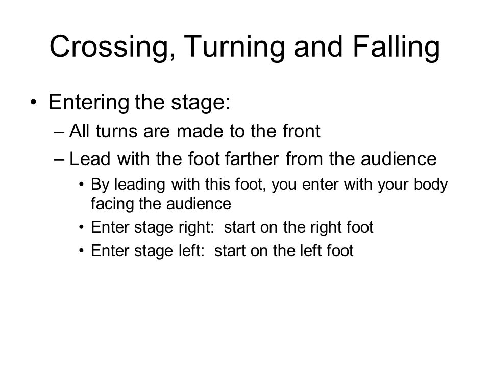 Crossing, Turning and Falling