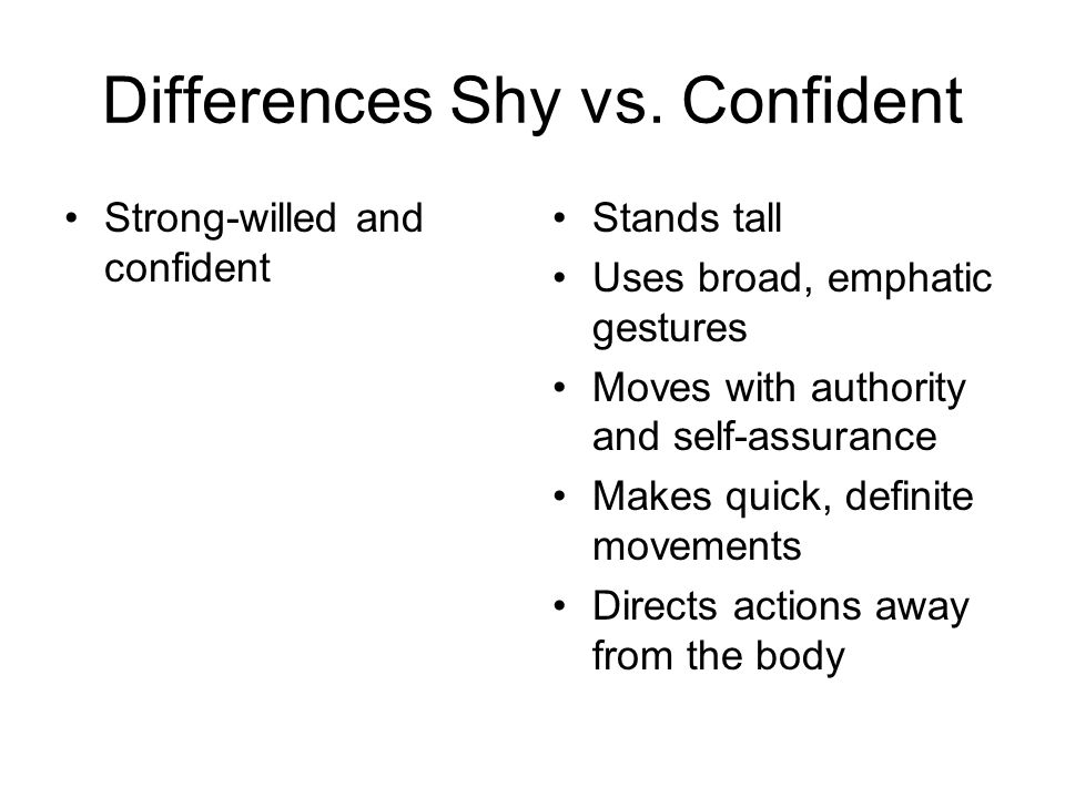 Differences Shy vs. Confident
