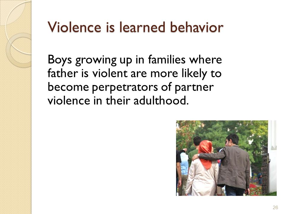 Violence is learned behavior