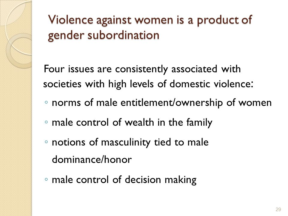 Violence against women is a product of gender subordination