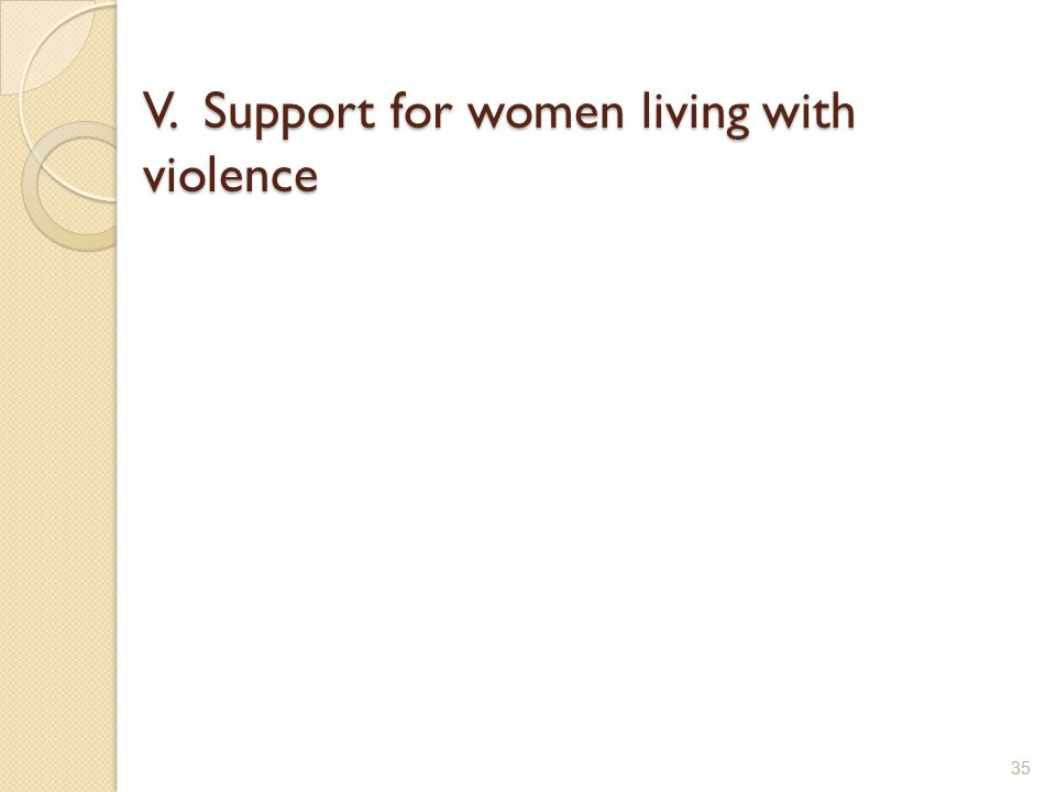 V. Support for women living with violence