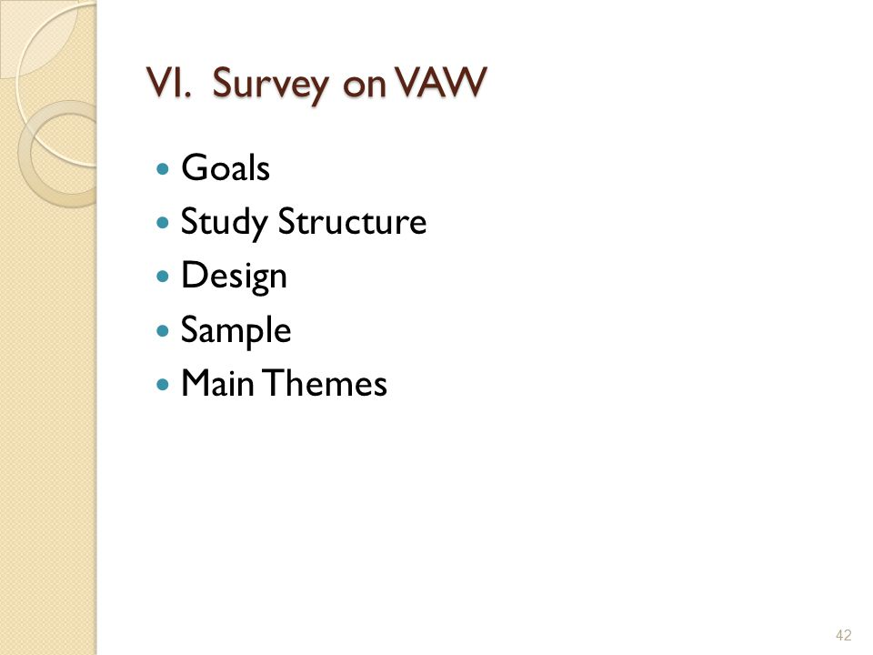 VI. Survey on VAW Goals Study Structure Design Sample Main Themes