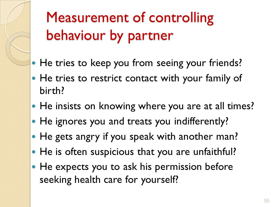 Measurement of controlling behaviour by partner