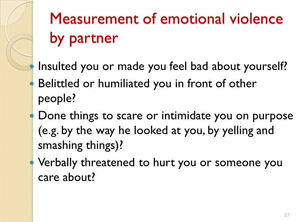 Measurement of emotional violence by partner