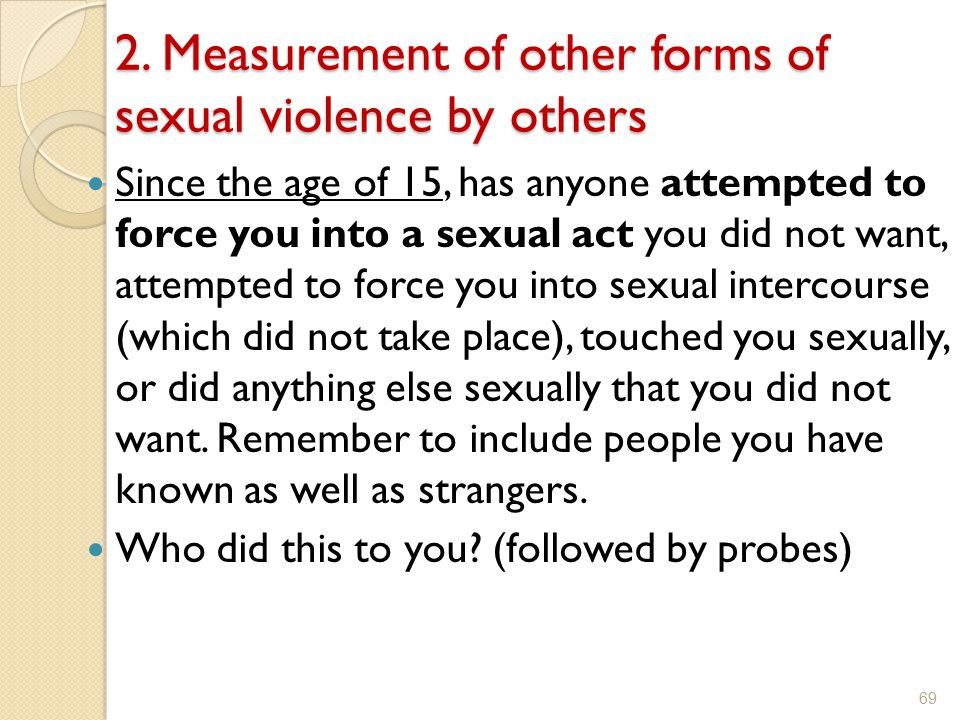 2. Measurement of other forms of sexual violence by others