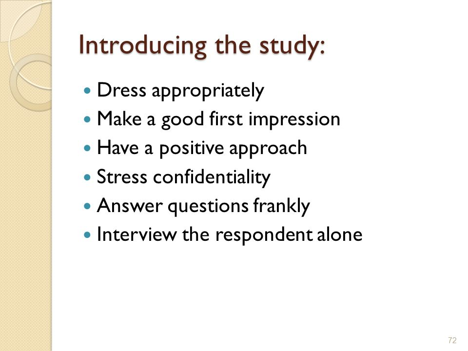 Introducing the study: