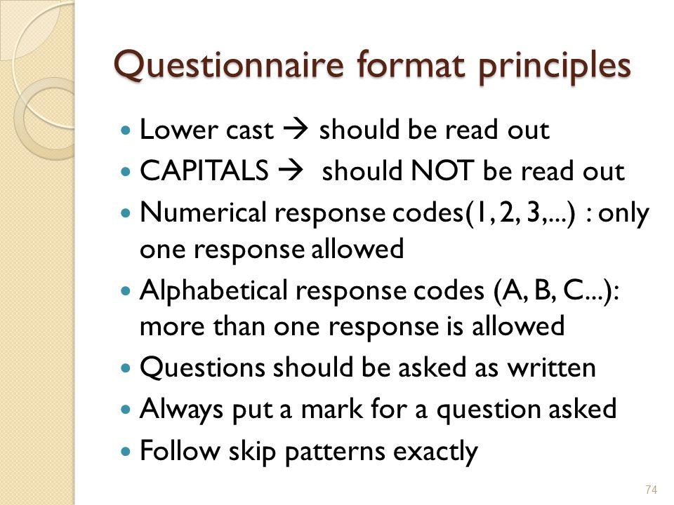 Questionnaire format principles