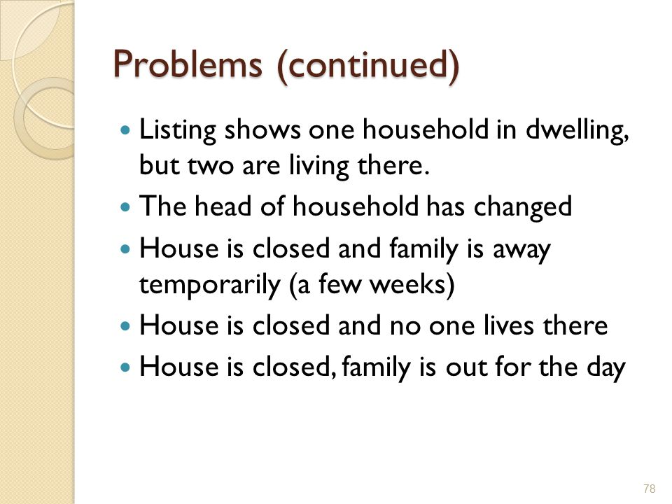 Problems (continued) Listing shows one household in dwelling, but two are living there. The head of household has changed.